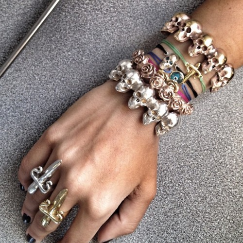 From fingers to #armcandy all #leivankash #jewellery… Checkout www.leivankash.com & get 15% off all these! Offer ends this Sunday #armparty #skulls #armswag (Taken with Instagram)