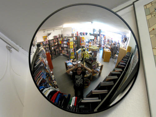 Me pretending to be a comic book nerd at a comic book store :)