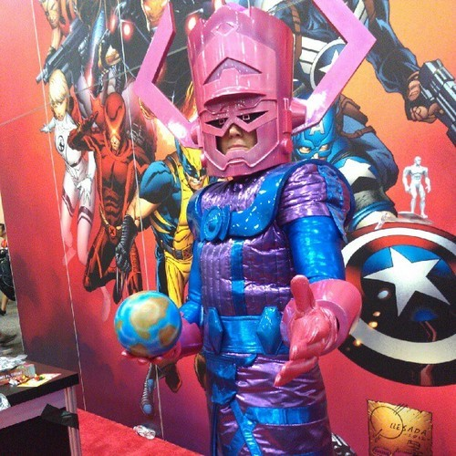 That just puts a smile on my face!  iheartchaos:  Cosplay of the Day: Galactus Spotted at SDCC '12 Via