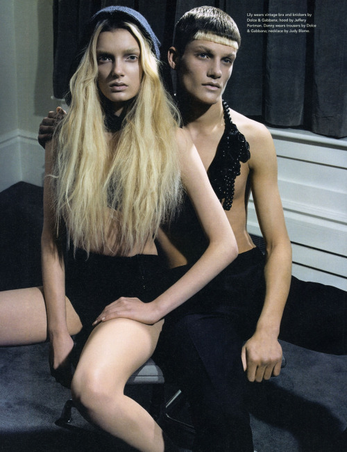 Lily Donaldson and Danny Beauchamp by Tesh for i-D #254 May 2005.