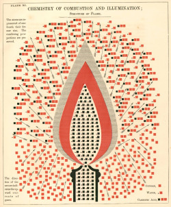 Chemistry of Combustion and Illumination. Illustration from Chemical Atlas by Youmans, Edward Livingston, New York, 1857.Found here (via Sabrina Campagna).