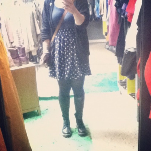 #whatiwore on monday. #outfit #clothes #dress #polkadots #drmartens #docs (Taken with Instagram)