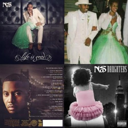 The #Rap #god #NaS #NasirJones #release his well anticipated album #LifeIsGood today… Seen here with #dope cover #art of the #King wearing his white #Wedding #Tuxedo and holding on to the #dress previously worn by X #wife #Kelis … This album is nuthing short of #greatnesss , jumped off by a very personal felt single titled #Daughters (Taken with Instagram)