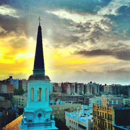 Sunset Over St Elizabeth Church I believe #instagramuptown #washingtonheights #newyorkcity #uptown #church #sunset  (Taken with Instagram)