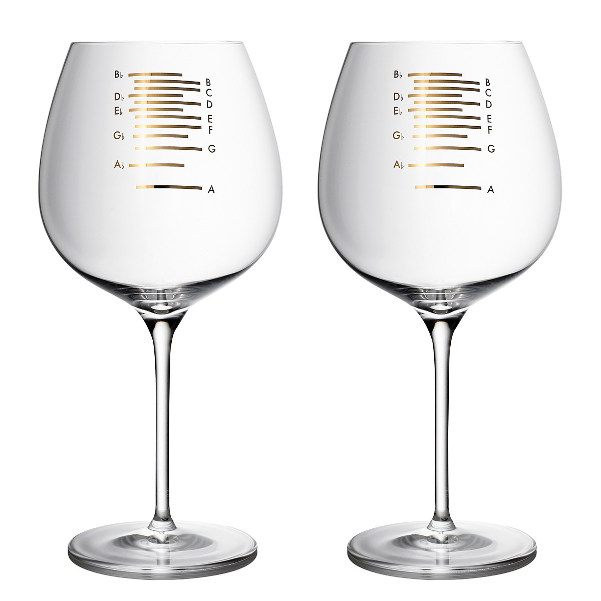 """GOLD MUSICAL WINE GLASS"" Wine and dine in perfect time! Get your next dinner party humming when you turn your sips into a symphony with these gilded glasses turned musical instruments. The etchings on the glasses are musical notations that correspond to the level of the liquid. When the user drinks to D for example, he or she may run a finger along the rim of the glass to create its lush, sonorous note. Or, for the more percussive partier, the same note will ring out with a gentle rap of his or her utensil on the side of the glass. ____________________ Time to bust out my rendition of ""Call Me, Maybe"" with some Chandon Carneros Reserve Pinot Noir, 2009."