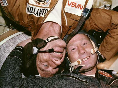 "The Apollo-Soyuz Test Project: An Orbital Partnership Is Born On July 17, 1975, something momentous happened: two Cold War-rivals met in space. When their respective spacecraft rendezvoused and docked, a new era of cooperative ventures in space began.  For more than a decade, American astronauts and Russian cosmonauts have been regularly living and working together in Earth orbit, first in the Shuttle-Mir program, and now on the International Space Station. But, before the two Cold War-rivals first met in orbit in 1975, such a partnership seemed unlikely. Since Sputnik bleeped into orbit in 1957, there had been a Space Race, with the U.S. and then-Soviet Union driven more by competition than cooperation. When President Kennedy called for a manned moon landing in 1961, he spoke of ""battle that is now going on around the world between freedom and tyranny"" and referred to the ""head start obtained by the Soviets with their large rocket engines."" But by the mid-70s things had changed. The U.S. had ""won"" the race to the moon, with six Apollo landings between 1969 and 1972. Both nations had launched space stations, the Russian Salyut and American Skylab. With the space shuttle still a few years off and the diplomatic chill thawing, the time was right for a joint mission.  The Apollo-Soyuz Test Project would send NASA astronauts Tom Stafford, Donald K. ""Deke"" Slayton and Vance Brand in an Apollo Command and Service Module to meet Russian cosmonauts Aleksey Leonov and Valeriy Kubasov in a Soyuz capsule. A jointly designed, U.S.-built docking module fulfilled the main technical goal of the mission, demonstrating that two dissimilar craft could dock in orbit. But the human side of the mission went far beyond that.  Image Credit: NASA (via The Apollo-Soyuz Test Project: An Orbital Partnership Is Born)"
