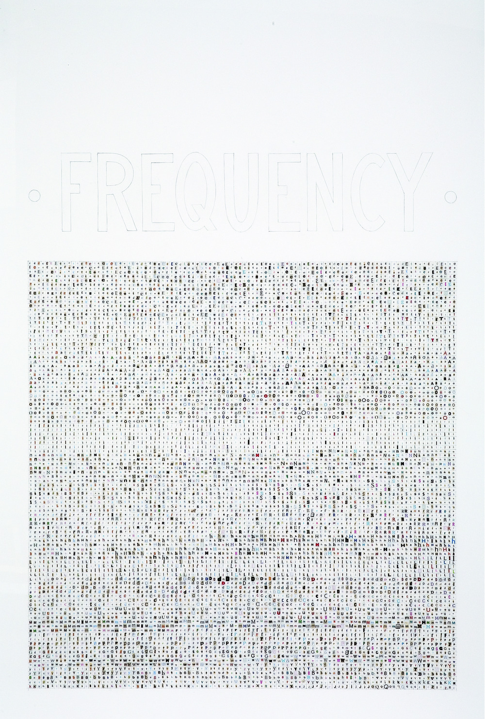 sweetchimera:  Frequency, 2005Pencil and collage of 10,000 cut letters on paper44 x 30 inches | 111.8 x 76.2 cmBy Tauba Auerbach