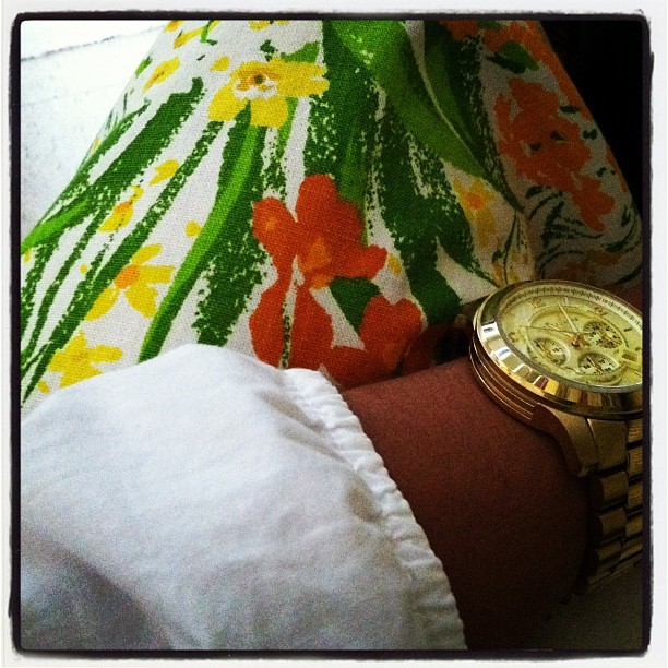 Vintage floral and crisp white today.  (Taken with Instagram)