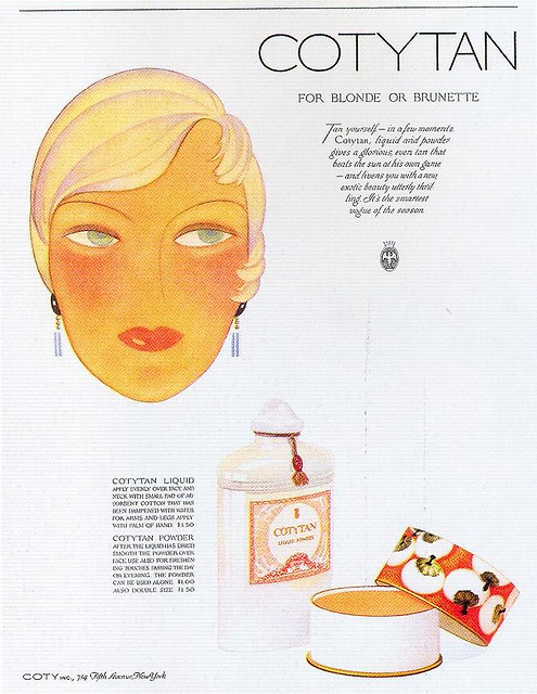 "Cotytan Cosmetics, 1929 on Flickr.  Click image for 674 x 871 size. Scanned from Taschen's ""All-American Ads of the 20s""."