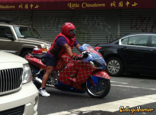 Spider-Man Rides Spider-Man Motorcycle Spiderman's day off.