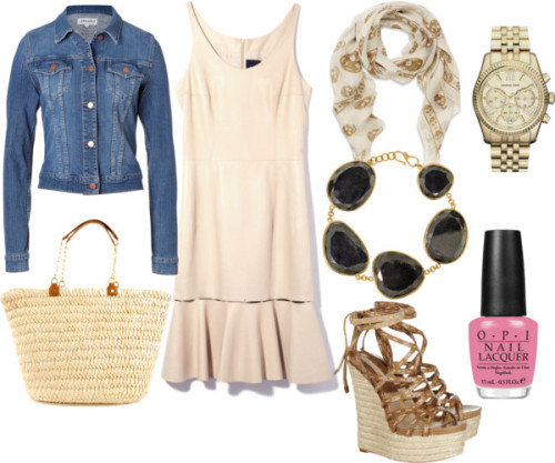 Untitled #776 by jadoremegan featuring opi nail lacquerSleeveless dress / J Brand denim jean jacket / Michael Kors espadrille wedge, $295 / Tory Burch beach tote / Pippa Small hematite jewelry / MICHAEL Michael Kors water resistant watch / Alexander McQueen skull scarve, $255 / OPI  nail lacquer, $28