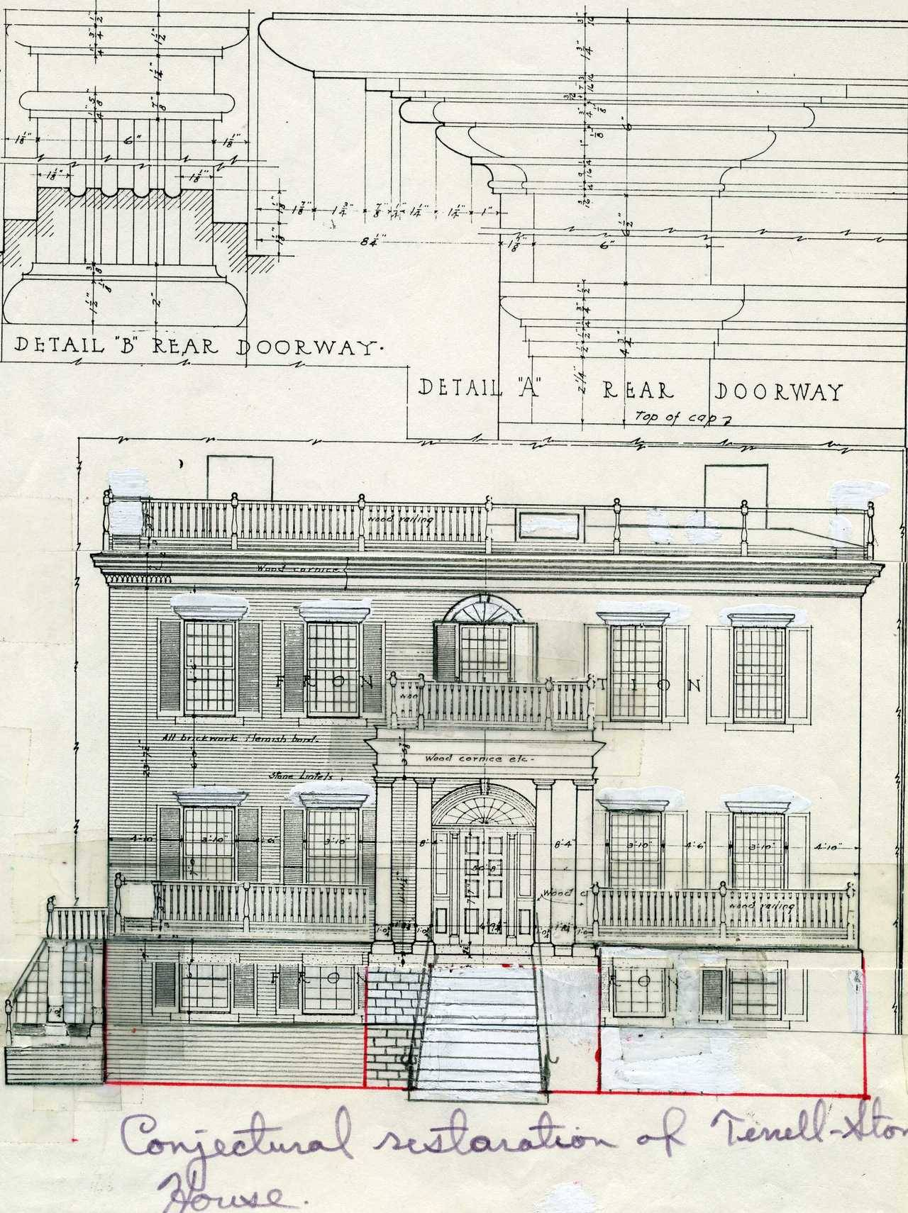 gatrust:  1991 Proposed restoration of front facade, Terrell-Stone House, Sparta, Ga.
