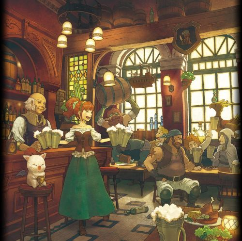 thedrunkenmoogle:  Illustration for Square Enix's Recent Pub Themed Music Album, Beer SQ  hahaha the FF7 track is Golden Saucer, this album is sounding awesome