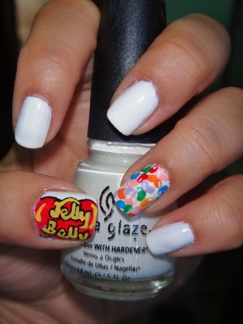 Inspired by Jelly Belly Jelly Beans using China Glaze's White on White as a base!Enjoy! :)