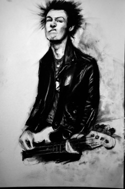 Sid Vicious 18x24 charcoal and conte drawing 2012