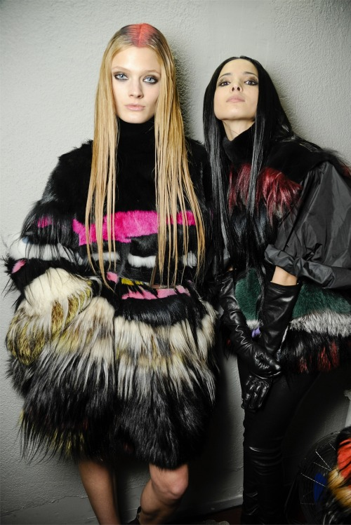 Constance Jablonski and Hanna ben Abdesselm backstage at Jean Paul Gaultier F/W 2012-13.
