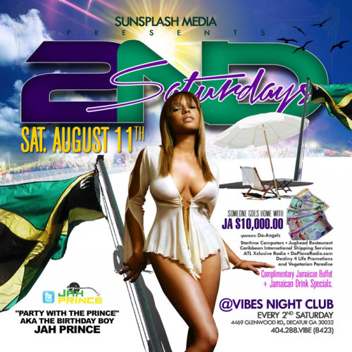 August 11th - 2nd Saturdays - DJ Jah Prince Birthday Celebration at Vibes Night Club : 4469 Glenwood Rd. Decatur 30032 404-288-VIBE (8423)
