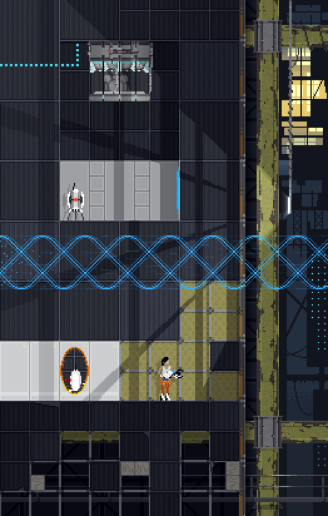 """My interpretation of Portal 2"" (xpost r/gaming) - Imgur 16-bit Portal 2 fan art! Love it!"