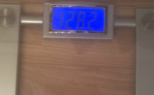 Today's Weight: 128.2 lbs.Total Lost: 9.4 lbs.It's only Tuesday and here I am almost back at 127 again (I was there on Saturday morning and that has still been the lowest I have seen on the scale in 2 years). So I'm hoping by Friday's weigh in, I get there again. It's hard with wearing clothes. I think for the last weigh in, I'll get down to my underwear and a sports bra because I want to weigh the LEAST possible. They might have another surprise weigh in this morning, so I wore a light sundress to work today. haha