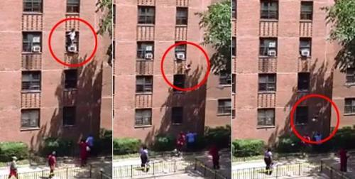 "inothernews:  In which a child falls three stories from a New York City apartment window — and is caught by a neighbor before she hits the ground. ""I went over there to make sure if she fell I could catch her,"" said 52-year-old Steve St. Bernard. ""I'm not a hero — anybody would have done it. I did it out of normal instincts."" (Screencap and caption via the New York Daily News)"