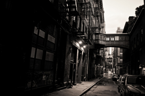 "Looking down Staple Street in Tribeca. New York City.  There are streets that I return to over and over again. These streets tug at memories I haven't made yet while yanking memories I treasure from the deep recesses of my mind. They haunt me in all the best ways. They represent the New York City in my mind.   Everyone seems to have a different version of New York City in their mind. It's the version that they look for when turning a corner and glancing down a street. My own version of New York City was formed early on. It's a result of falling in love with a combination of streetscapes in classic film noir cinema, futuristic sci-fi city environments in literature and film, and years of traversing New York City on foot.  This is one of those streets that I could have only dreamed existed until I turned a corner one day and stopped dead in my tracks as I looked down the street towards the skybridge that crosses between buildings. It's Staple Street in Tribeca. A tiny alley-like street, it contains one of the most fascinating pedestrian bridges (also known as a skyway, traverse, skywalk and a host of other terms) I have ever seen in New York City.  Some history about this street: ""In 1894, New York Hospital built the House of Relief, a downtown clinic, on Jay from Hudson to Staple, with an ambulance entrance facing Staple. In that year The New York Herald noted that the hospital was sending its ambulance out as often as seven times a day, sometimes on emergencies involving sunstroke, ""which so often occurs in the lower part of the city,"" perhaps because of the large number of men working outdoors on the docks.   In 1907 the hospital built an annex across Staple Street (replacing the saloon/row house at Jay and Staple) as a stable and laundry, connecting it at the third-floor level using a pedestrian bridge. Although Staple Street was then just an industrial alley, the hospital had the architects Robertson & Potter design a handsome little building with a terra cotta plaque bearing the ""NYH"" monogram on the Staple Street side. The monogram is still there."" - from ""Streetscapes: Staple Street in TriBeCa"" New York Times By Christopher Gray, February 2001  —-  View this photo larger and on black on my Google Plus page  —-  Buy ""Staple Street - Tribeca - New York City"" Prints here, email me, or ask for help."
