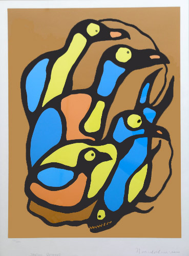 Norval Morrisseau (Ojibwe) Woman and Man in Nature Acrylic on Canvas 1970