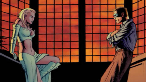 Emma Frost and Scott Summers in Astonishing X-Men #3, by Joss Whedon and John Cassaday.  July 2004.