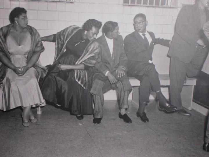 pearlfectchassi:  Ella Fitzgerald and Dizzy Gillespie awaiting arrest in Houston, TX 1955. Yes they were Freedom Riders too!