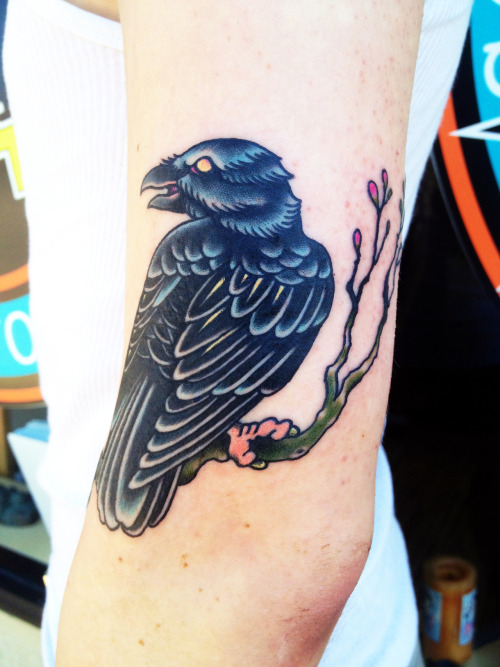 Little raven done by Mike Nomy at South Shore Tattoo Co. in Amityville, NY.