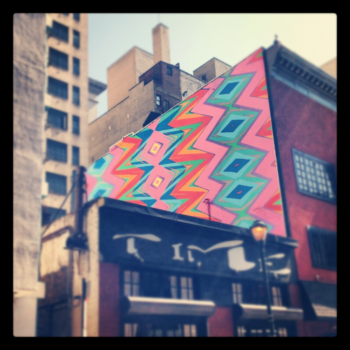 Zigzaggy mural. Taken July 17, 2012 on Sansom St. in Center City, Philadelphia Comments