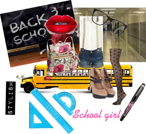 stylish school girl by magbabe featuring a lip stickGoldie lace top, $76 / Denim shorts / Polka dot tight / Miso high heel shoes, $47 / Coach leather backpack / Sunglasses, $560 / Lip stick / Alber Sketch Pen / Long Yellow School Bus Isolated On White Background With Clipping Path…