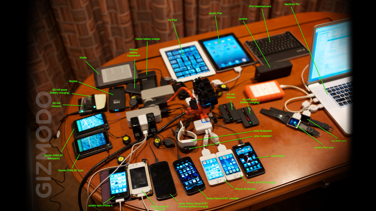 The contents of Steve Wozniak's travel backpack. I realize it's The Woz we're talking about here, but really, what's the need for all this tech?