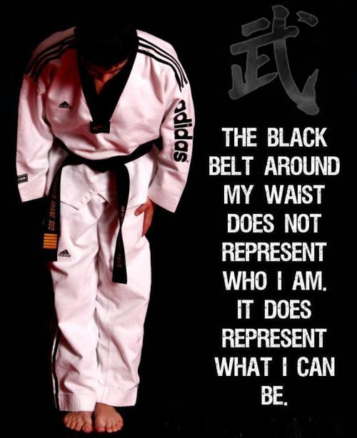 hanshironin:  The Black Belt around my waist does not represent who I am. It represents who I can be.