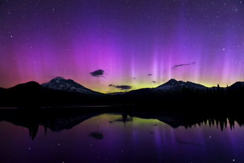 Shimmering purple aurora after a powerful solar storm