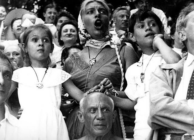 Picasso At Bullfight with Paloma, Maya, Claude, 1955.