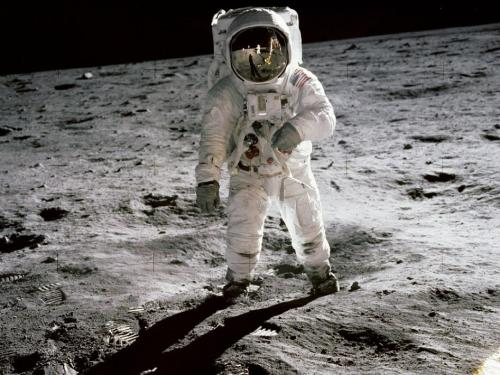 "pbsthisdayinhistory:  July 20, 1969: First Man Walks on the Moon On this day in 1969, the spaceflight Apollo 11 landed the first humans, Americans Neil Armstrong and Buzz Aldrin, on the moon.  People watched worldwide as Armstrong took that momentous first step onto the moon, declaring, ""This is one small step for a man, one giant leap for mankind."" One does not simply land on the moon wearing a t-shirt and jeans.  See how these Historic Space Suits evolved to allow a successful landing on the moon! Photo:  NASA"