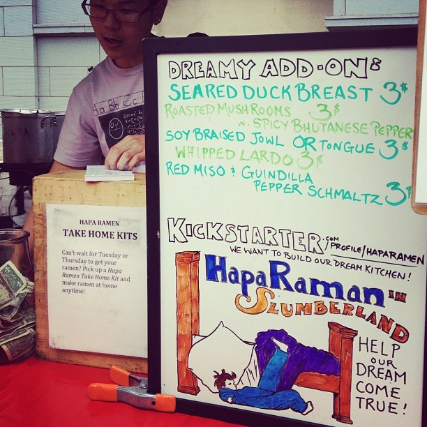 The @HapaRamen kickstarter just went live, help us build our dream kitchen, and also visit us today at the ferry building from 10 - 2. (Taken with Instagram at Hapa Ramen)