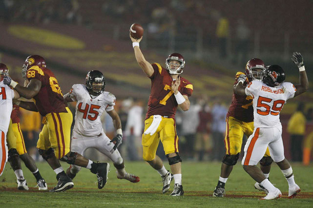 Matt Barkley attempts a pass during a 2009 USC-Oregon State game. SI's Andy Staples pretended every college player was eligible for a NCAA Draft. In this mock draft, Barkley went third to UMass. Find out who your school chose. (Peter Read Miller/SI) STAPLES: My hypothetical 2012 college football Mock Draft