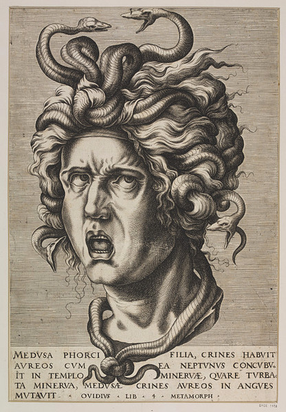 centuriespast:  Head of Medusa Place of origin:  Italy (probably, made)   Date:  17th century (made)   Artist/Maker:  Unknown (print-maker) The Victoria and Albert Museum