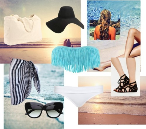 "stylish swimwear by magbabe featuring oversized sunglassesHeidi Klein hipster bikini / John lewi, $39 / Fringe swimwear / Kenneth Cole flat gladiator sandals / Billabong bright handbag / Lanvin wide brim floppy hat / Oversized sunglasses / beach photograph - ""Family"". Santa Monica photo vacation California… / Sunrise Photography - ocean summer coastal wall art beach cottage…"