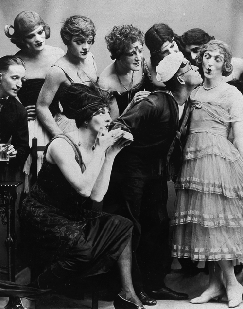 orsons:  New York, 1919: James Cagney (third from upper left) in drag for his first stage role in the play Every Sailor  I'd always heard Cagney did drag on-stage in his early years, but I had no idea there was a picture. This in no way diminishes him as one of our great tough guy actors. In fact it makes it better.
