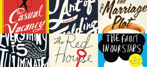"The above image is from a piece in The Atlantic about book cover designs (""Book Cover Clones: Why Do So Many Recent Novels Look Alike?"").  The article is interesting enough, but I was most focused on the fact that The Fault in Our Stars is the only Young Adult novel pictured and mentioned in the entire article (which includes the cover for J. K. Rowling's new novel, Jeffrey Eugenides, Jonathan Safran Foer, and in the slideshow: George Orwell, David Sedaris, and  Mark Haddon, among others.) I think there's an interesting (if not unoriginal) idea there, about how the impact of book cover design on Young Adult vs Adult fiction. TFiOS is a YA novel, but the cover is designed in a far more adult fiction manner — I mean, in this Atlantic piece, the cover of TFiOS does not look at all out of place as some other YA fiction covers would be. It also brings to mind The Curious Incident of the Dog in the Night-Time which was marketed as adult literary fiction here in the States, but was published in England in two identical editions, one aimed at YA readers and one at adults — the only difference being the cover design. (Haddon is the author of The Red House whose cover is pictured above, next to The Fault In Our Stars).  Some non-hypothetical questions: 1) Do you guys consider Jonathan Safran Foer YA Fiction? Why or why not?  2) Is marketing YA fiction for adults by cover design a good way to get adults reading some (IMO, great) fiction they might not otherwise read because it is ""YA""? 3) What are some of your favorite book covers?  I'm gonna end my silly thoughts with one of my favorite quotes from the piece, said by Paul Buckley, the Vice President and Executive Creative Director at Penguin Group USA and editor of Penguin 75: Designers, Authors, Commentary (the Good, the Bad…):  Some mainstay elements of cover composition seem to be entirely fad-resistant: ""One trend that may never go away is women's heads on covers, turned away from [the reader],"" [Buckley] says. ""Understandably, publishers put out many books where the protagonist is female, and we don't want to spell out exactly what she looks like for the reader. Some mystery and filling in the blanks is necessary. Over the decades, I'd bet literally hundreds of book covers [were released] with women's heads turned away from the viewer."" For evidence, one need only venture so far as the Women's Fiction section of Amazon.com, where eight of the 50 top-selling titles feature female cover models with their backs turned—among them, J. Courtney Sullivan's Maine, Karen White's Sea Change, and Khaled Hosseini's A Thousand Splendid Suns.  Non-hypothetical question #4: Is women with their backs turned the literary version of women laughing while eating salad? Send me your thoughts!"