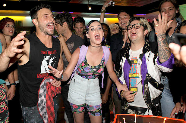 "July 14: Katy Perry and friends have fun at the ""Juan Sweet Skate Party"" in Glendale, California."
