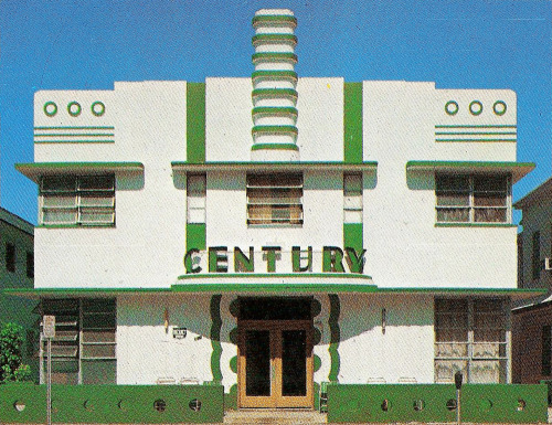 decoarchitecture:  Century Hotel, Miami, FloridaFrom Tropical Deco Wee Deco hotel. From the book:  Century Hotel - 140 Ocean Drive (Henry Hohauser, 1939.)  Here it is on Google Street View.
