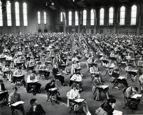 University of Chicago placement exams in Bartlett Gym, 1945, Chicago. UoC Digital Archives