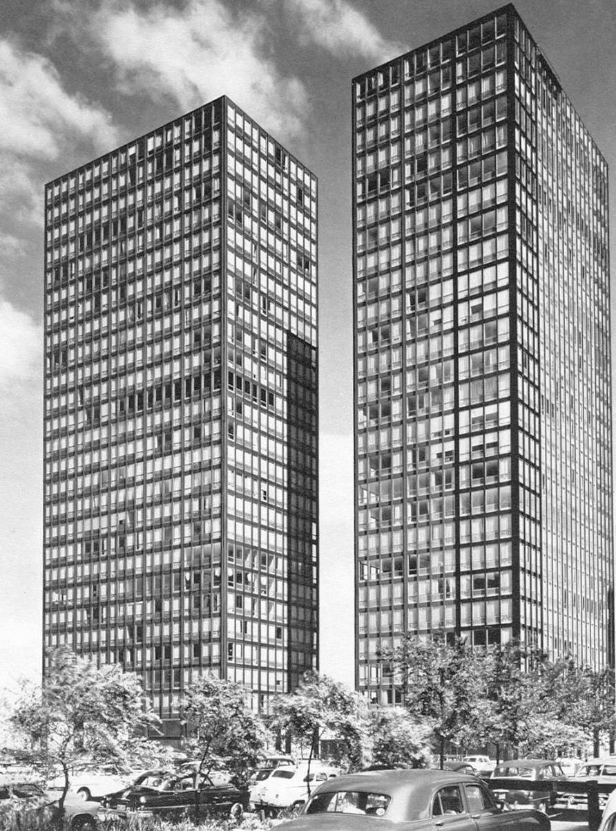 Mies van der Rohe's Lake Shore Drive Apartments in 1950, Chicago