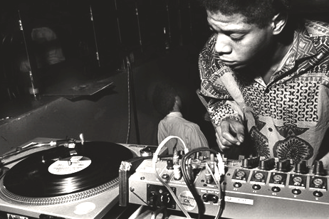 shari-vari:  Basquait behind the decks