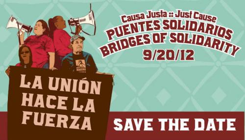 Black and Brown Unity! New design created for Causa Justa: Just CauseSave the Date! September 20, 2012. 6-9pmPuentes Solidarios / Bridges of SolidarityHosted by Dave 'Davey D' CookPerformances by Loco Bloco and other special guestsIslamic Cultural Center1433 Madison Street, Oakland, CA 94612Tickets available August 1