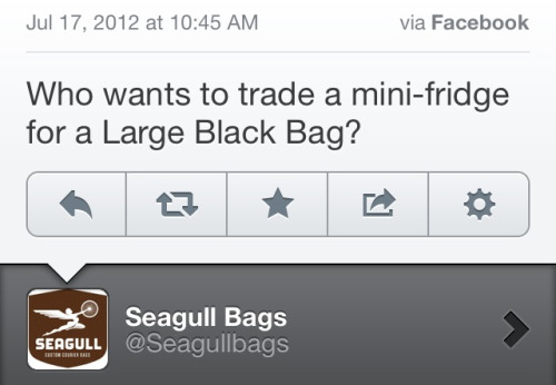 I just got a $125 Seagull messenger bag for free in exchange for a dorm fridge I had sitting in my basement.