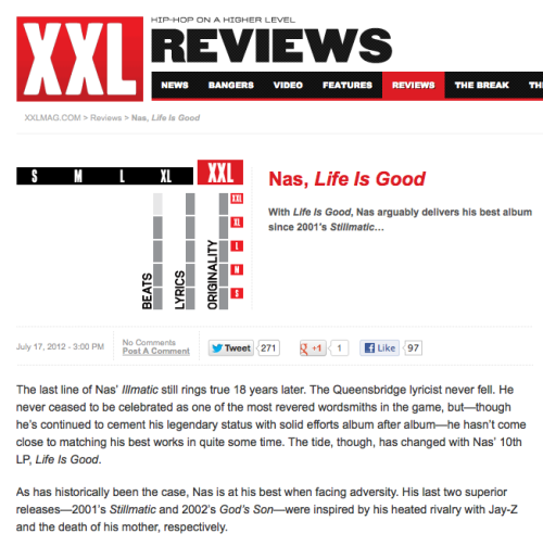 "defjamblr:  Nas ""Life is Good"" album gets XXL Rating in XXL Magazine! Click here to read.  I haven't trusted this mag in many moons and also disagree with this rating, but still…this makes me happy."